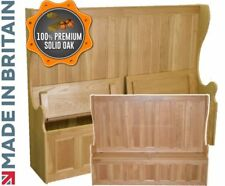 Solid Oak Monks Bench, 6ft Wide High Back Lifting Lid Seat Storage, Settle, Pew