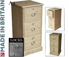 Solid Pine Filing Cabinet, 3 Drawer A4 Home Office Filing Unit with Locks
