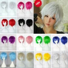 Cute Short Straight Anime Hair Wig Women Men Cosplay Party Full Wigs Costume t02
