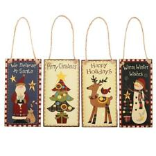 Rectangle Wooden Sign Plaque Merry Christmas Home Wall Decoration Hanging Board