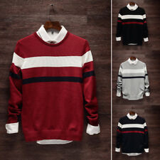 Long Sleeve Stripe Pullover Knit Sweater Fashion Men Casual Loose O-Neck Sweater