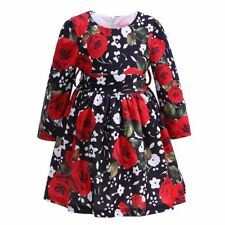 Girls Long Sleeve Flower Print Princess Party Pageant Holiday Pleated Dress