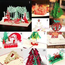 Handcrafted 3D Greeting Christmas Greeting Card Pop Up Card Postcards Birthday