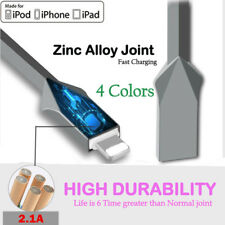 1M Data Sync Zinc Alloy Fast Charger USB Cable Cord For iPhone 7 Plus 6 6S 5 Lot