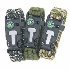 Outdoor Survival Paracord Bracelet With Compass Fire Starter Emergency Whistle