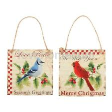 Merry Christmas Square Wooden Plaque Sign Gallery Wall Decor Bird Hanging Board