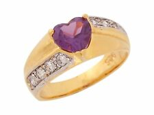 10k or 14k Two Tone Gold Simulated Amethyst White CZ Ladies Sweetheart Ring