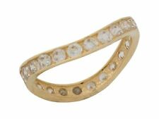 10k or 14k Yellow Gold White CZ Modern Wave Sparkling Ladies Eternity Band Ring