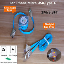 3in1 Retractable Multi Data Sync Charger Cable For iPhone/Type-C/Micro USB Lot