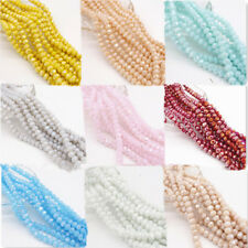 Wholesale AB 100pcs Rondelle Faceted Crystal Glass Loose Spacer Beads DIY  4mm
