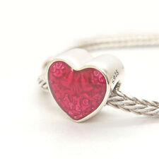 Authentic S925 Sterling Silver Latin Love Heart, Transparent Cerise Enamel CHARM