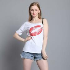 Girl strapless straps T-shirt fashion print casual short sleeve lady tops TV3