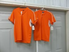 2 ALLESON BASEBALL SHORT SLEEVE JERSEY SHIRT BUTTON ORANGE BOYS YOUTH SIZE L NEW