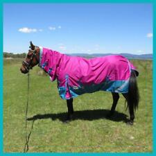 LOVE MY HORSE 5'6 - 6'6 600D Fleece Lined Turnout Rainsheet Combo Rasb / Teal