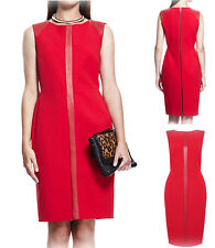 New Ladies Ex M&S Office Party Red Dress RRP £89 Faux Leather Panelled Size 8-22