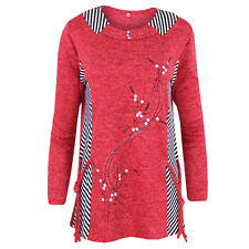 D40 New Women's Long Sleeve Printed Round Neck Shirts Plus Size Ladies Tunic Top