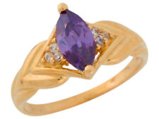 10k or 14k Yellow Gold Genuine Amethyst and Diamond Marquise Cut Ladies Ring