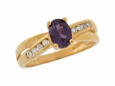 10k or 14k Yellow Gold Simulated Amethyst and White CZ Fancy Ladies Ring