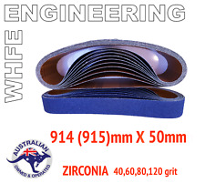 20 x 915mm 915/915mm x 50mm  LINISHING SANDING ZIRCONIA 40 60 80 120 #