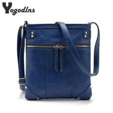 Vintage Women Bag Double Zipper Women Messenger Bags PU Shoulder Bag Crossbody