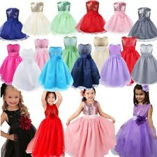 Princess Baby Floral Girls Kids Sequins Party Dress Ball Gown Bridesmaid Dresses