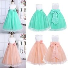 Flower Girls Princess Dress Kids Baby Party Wedding Pageant Formal Mesh Dresses