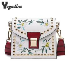 Fashion Women Leather Messenger Bag Embroidery Flower Handbag Ladies Small Bags