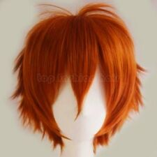 Women Mens Male Anime Hair Wig Short Straight Synthetic Wig Cosplay Party Orange