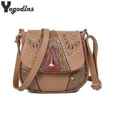 National Style Women Messenger Bags Shoulder Bag PU Leather Rivet Crossbody Bag