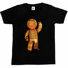 Happy Gingerbread Man Smiling & Waving Kids Boys / Girls T-Shirt