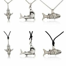 New Shark Silver Pewter Charm Necklace Pendant Jewelry