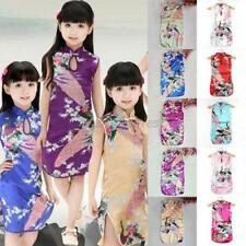 US 2-8Y Kid Baby Girl Floral Peacock Cheongsam Party Dress Chinese Qipao Clothes