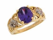 10k or 14k Two Tone Gold Oval Simulated Amethyst White CZ February Ladies Ring