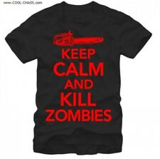 Keep Calm and Kill Zombies T-Shirt / Funny,Men's Tee,Black,Skull,Chainsaw Tee