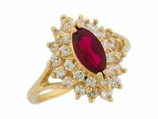 10k or 14k Yellow Gold Simulated Garnet White CZ January Ladies Birthstone Ring