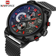 Naviforce Luxury Stainless Steel Analog Watches Men's Quartz 24 Hours Date Watch