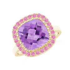 Cushion Amethyst Pink Sapphire Cocktail Ring 14K Yellow Gold Size 3-13