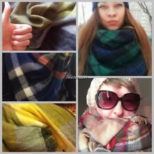 Women Square Multifunction Plaid Blanket Scarf Checked Wrap Shawl Winter BF9