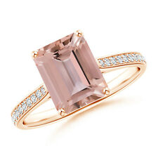 Emerald Cut Morganite Cocktail Ring with Diamond Accents 14k Rose Gold Size 3-13