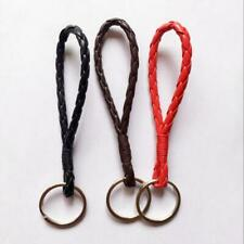 10x 12cm Braided Leather Rope Woven Keychains Metal Key Chain Car Key Ring Gifts