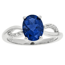 2.00 Ct Oval Blue Sapphire Diamond Sterling Silver Ring (.10cttw I-J I2-I3)