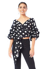 Edgelook Polka Dot Wrap-Front Self Tie Blouse