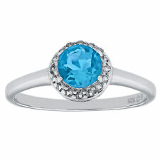 1.00 Ct Round Natural Blue Topaz and White Topaz 925 Sterling Silver Ring