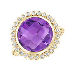 Round Amethyst Cocktail Ring with Beaded Shank 14K Yellow Gold Size 3-13