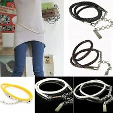 Women New Fashion Solid Color Metal Buckle Pu Leather Chain Belt