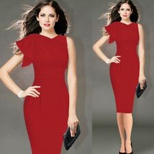 Women Ruffle Sleeve Ruched Party Wear To Work Fitted Stretch Slim Bodycon Dress