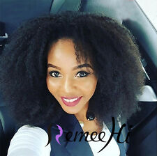 """Sexy Woman 12""""-24"""" Afro Kinky Curl 100% Brazilian Human Hair Front Full Lace Wig"""
