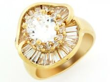 10k or 14k Yellow Gold White CZ Ladies Floral April Birthstone Cluster Ring