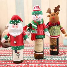 Christmas Santa Snowman Deer Wine Bottle Cover Bag Champagne Home Table Decor