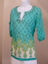 KATE HILL Petite Women's Blue Green Print Embellished V-Neck Tunic Blouse Sz 8p